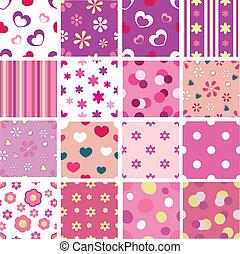 set of kid seamless patterns