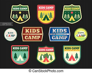 Set of kids adventure summer camp emblem or badge in camping theme