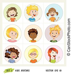 Set of kids avatar icons