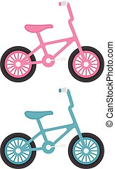 Set Of Kids Bicycles Isolated On A White Background. Vector Illustration.