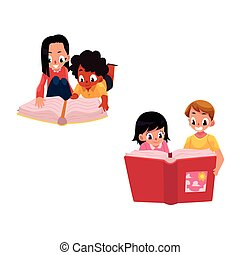 Set of kids, children reading thick book together