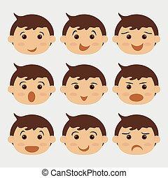 Set of kids faces. Boys.