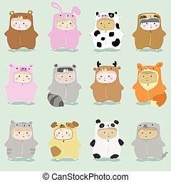 Set of kids in cute animal costumes 1