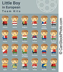 Set of kids in European sport team kits