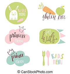 Set of Kids menu logos for cafe or restaurente. Funny design for kids and baby food