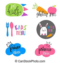 Set of Kids menu logos for cafe or restaurant. Funny design for kids and baby food. Stickers, labels, tags design