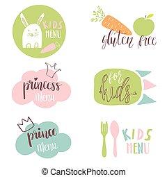 Set of Kids menu logos for cafe or restaurente. Funny design for kids and baby food