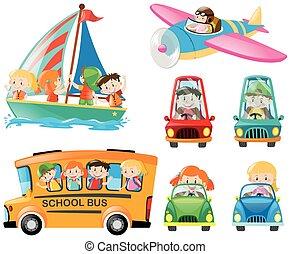 Set of kids on different transportations