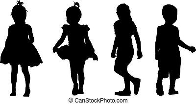 Set of kids silhouettes