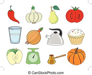 set of kitchen and food related illustrations