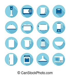 Set of kitchen appliances and tools web icons, symbol, sign in flat style. Home appliances. Elements for design. Vector illustration.
