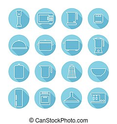 Set of kitchen appliances and tools web icons,symbol,sign in flat style. Home appliances. Elements for design. Vector illustration.