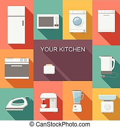 Set of kitchen appliances flat vector icons - Set of kitchen...