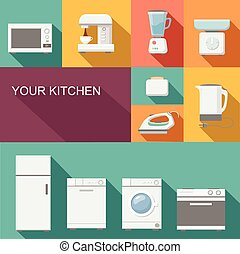 Set of kitchen appliances flat  vector icons poster
