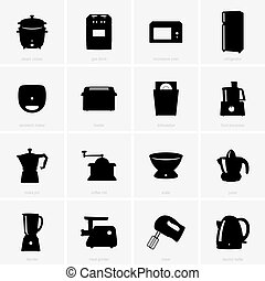 Set of kitchen appliances icons