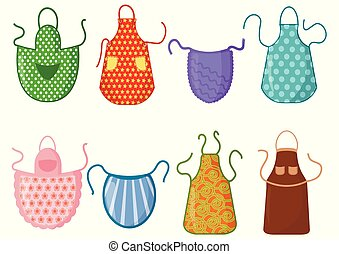 Set of kitchen aprons with patterns isolated on white background. Protective garment. Cooking dress for housewife or chef of restaurant. Vector illustration