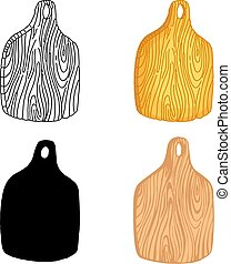 Set of kitchen cutting boards. Hand drawn elements for your...