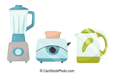 Set of kitchen electrical equipment. Vector illustration on a white background.