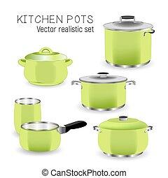 Set of kitchen green pans