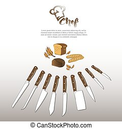 Set of kitchen knives logo hat chef bread