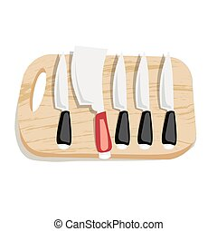 Set of kitchen knives on a board, top view