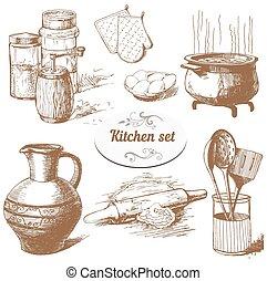Set of kitchen objects