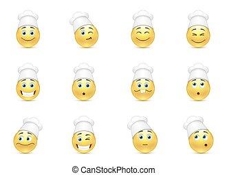 Set of kitchen smilies - Set of funny kitchen smilies