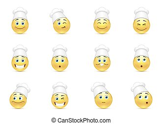 Set of kitchen smilies - Set of funny kitchen smilies