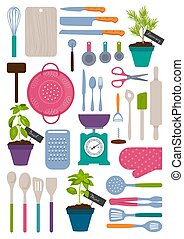 Set of kitchen tools illustration - Set of kitchen tools,...