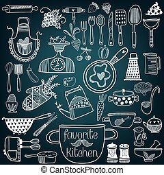 Set of kitchen tools on chalkboard background. Vector illustration of kitchen doodles collection-Pan, skillet, apron, scales, mixer and other