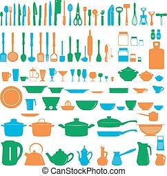 Set of kitchen untesils, vector illustration