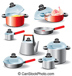 set of kitchen utensils for hot food processing