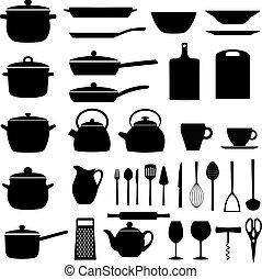 Set of kitchen utensils; silhouettes of kitchenware, vector illustration