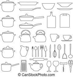 Set of kitchen utensils, vector illustration