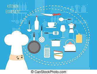 Set of kitchen vector icons, preparing food