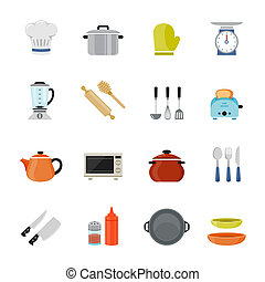 Set of Kitchenware Icon - Kitchenware full color flat design...