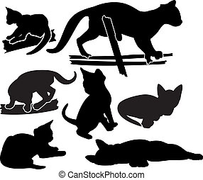Set of kitten silhouettes