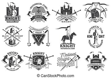 Set of knight historical club badge design. Vector Concept for shirt, print, stamp, overlay or template. Vintage typography design with knight, knight on a horse, swords, axe, castle silhouette