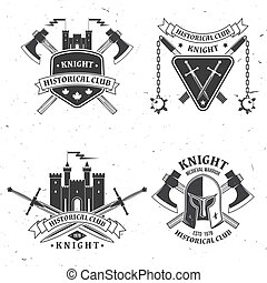 Set of knight historical club badge design. Vector illustration Concept for shirt, print, stamp, overlay or template. Vintage typography design with battle axe, knight helmet, swords castle silhouette