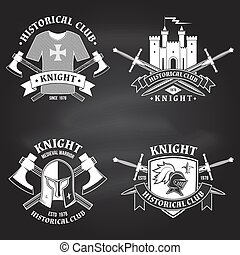 Set of knight historical club badge design. Vector Concept for shirt, print, stamp, overlay or template. Vintage typography design with knight, flail with spiked ball, swords castle silhouette