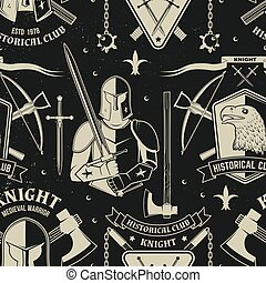 Set of knight historical club seamless pattern design. Vector Concept for shirt, print, stamp, overlay or template. Typography design with knight, knight on a horse, swords, axe, castle silhouette