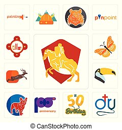 Set of knight on horse, dr., 50th birthday, 100th anniversary, french bulldog, toucan, antelope, monarch butterfly, fire station icons