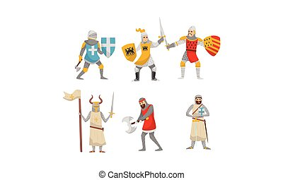 Set of knights in armor. Vector illustration on a white background.