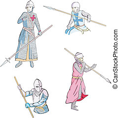 Set of knights with spears