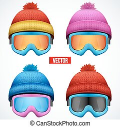 Set of Knitted woolen cap with snow goggles. Winter seasonal sport hat. Vector illustration isolated on white background.