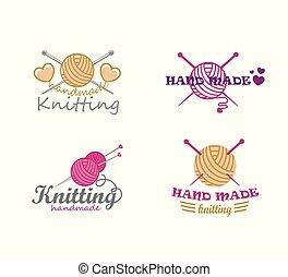 Set of knitting logo elements