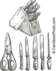 Set of knives. Kitchen utensils