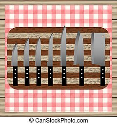 Set of knives. Top view.