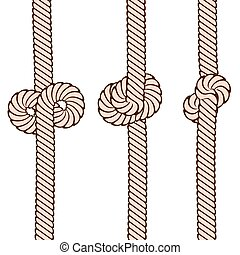 Set of knots on rope on white, stock vector illustration