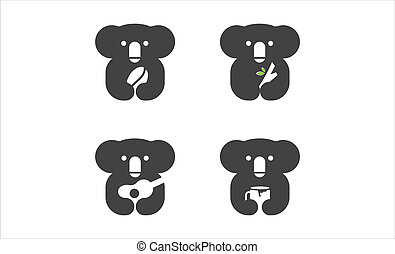 set of koala black logo icon design vector